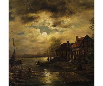 Dutch Signed Painting Oil On Canvas Nocturnal Seascape