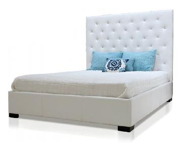 Modani Contemporary White Tufted Leather Queen Bed