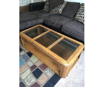 Glass & Wood Coffee Table w/ Shelf