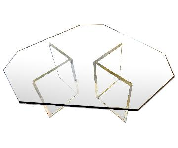 Octagonal Bevel-Edged Glass & Lucite Coffee Table