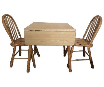 Extendable Wood Dining Table w/ 2 Chairs