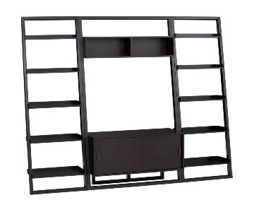 Crate & Barrel Media Center w/ 2 Leaning Bookcases