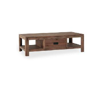 Macy's Champagne Acacia Wood Coffee Table