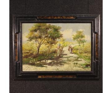 French Signed Landscape Painting Mixed Media On Canvas