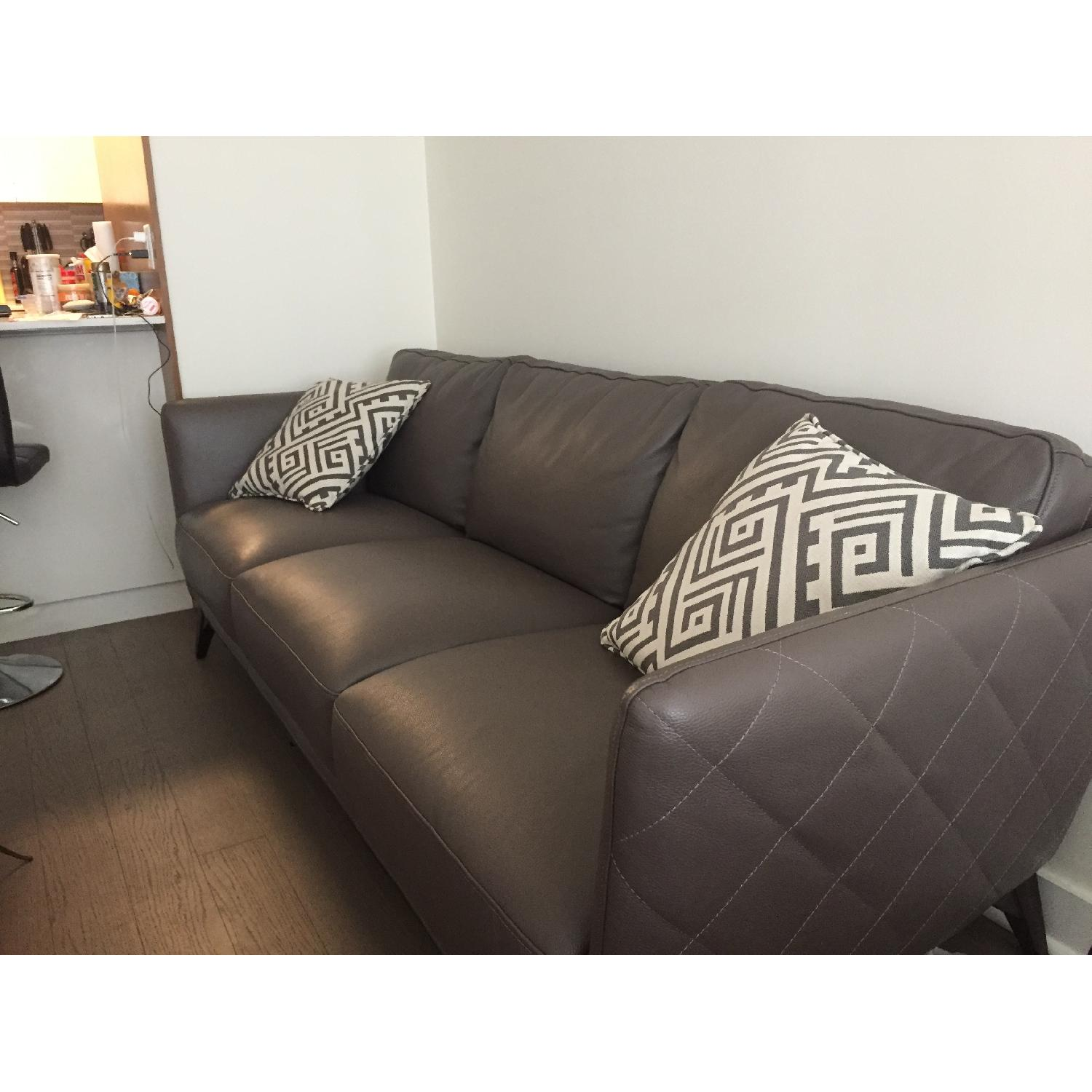 Macy S Kourtney Quilted Side Leather Sofa
