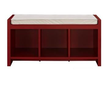 Ameriwood Industries Red Entryway Storage Bench w/ Cushion