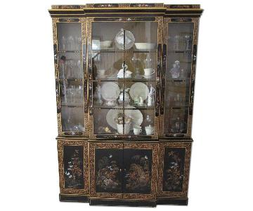 Oriental Lacquer Breakfront/China Cabinet