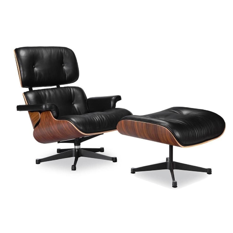 mid century modern black leather lounge chair ottoman aptdeco