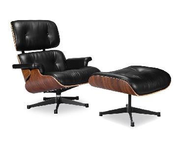 Mid Century Modern Black Leather Lounge Chair & Ottoman