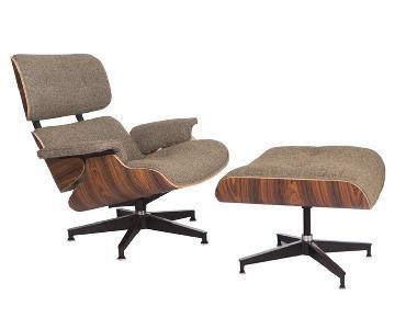 Mid Century Modern Oatmeal Wool Lounge Chair & Ottoman