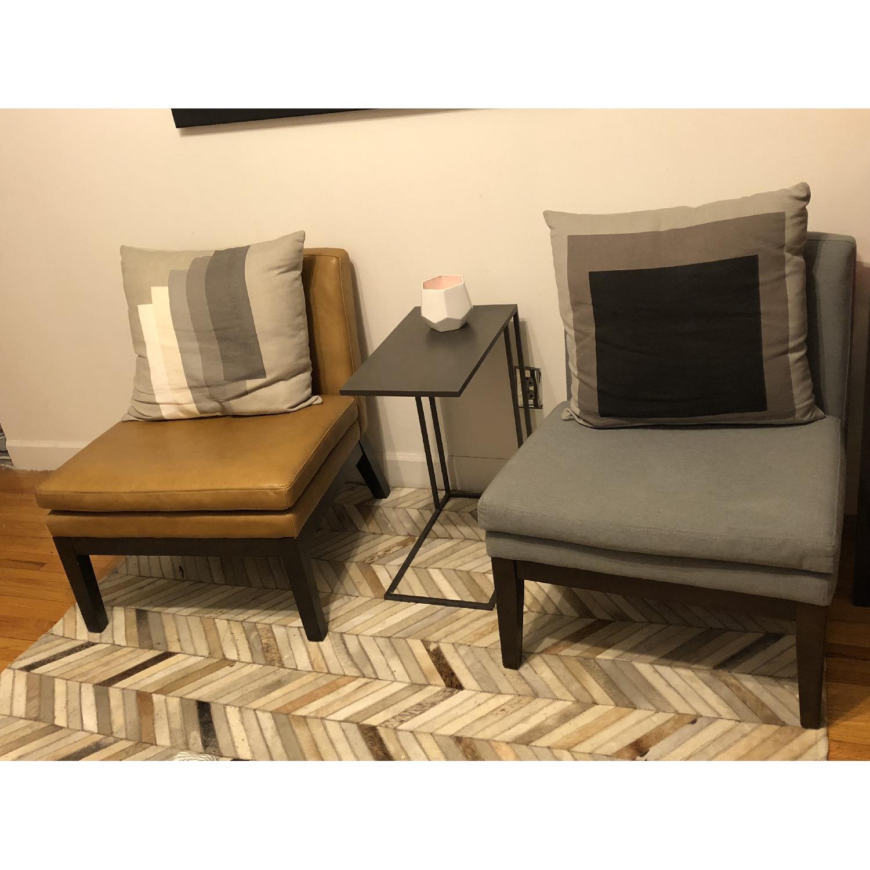 ... West Elm Tan Leather Slipper Chair 0 ...