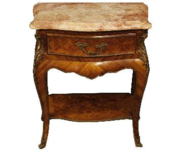 French Inlaid Bedside Table In Rosewood w/ Marble Top