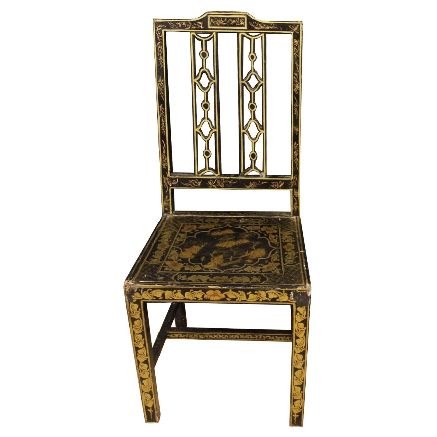 Lacquered & Painted Chinoiserie French Chair