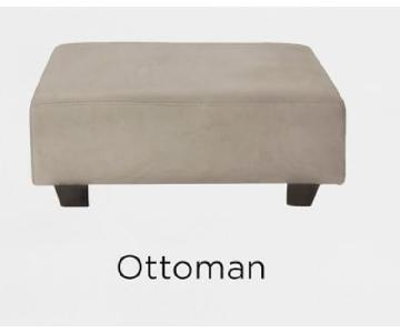 West Elm Tufted Tillary Ottoman w/ Back Cushion