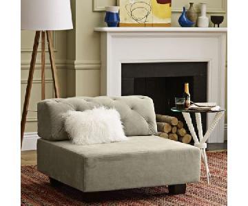 West Elm Tufted Tillary Ottoman w/ Back Cushion