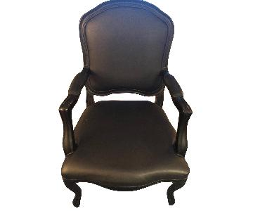 CB2 Classic Black Faux Leather Chair