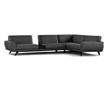 Roche Bobois Leather Envergure Dark Grey Sectional Sofa