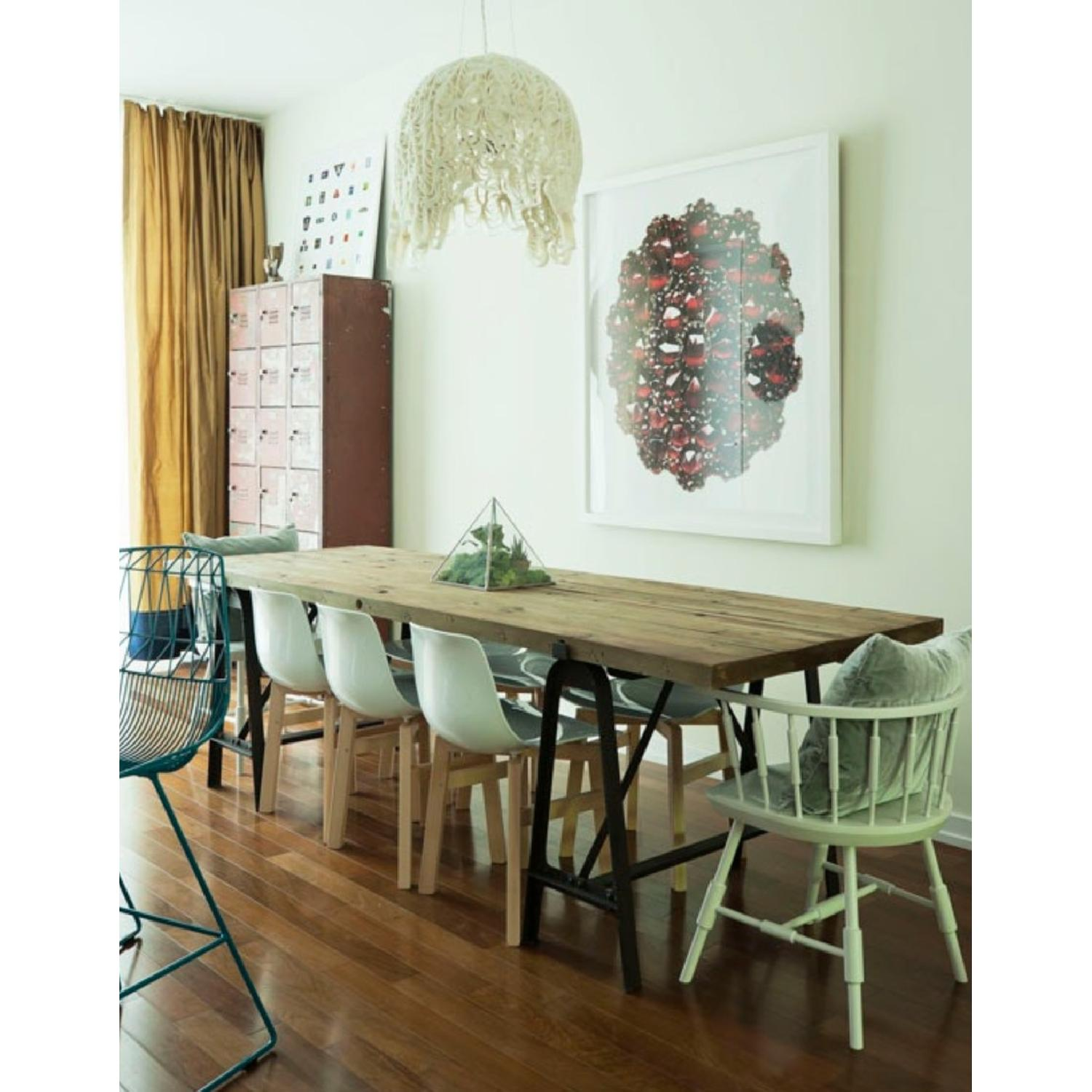 Reclaimed Wood Dining Table w/ Wrought Iron Legs