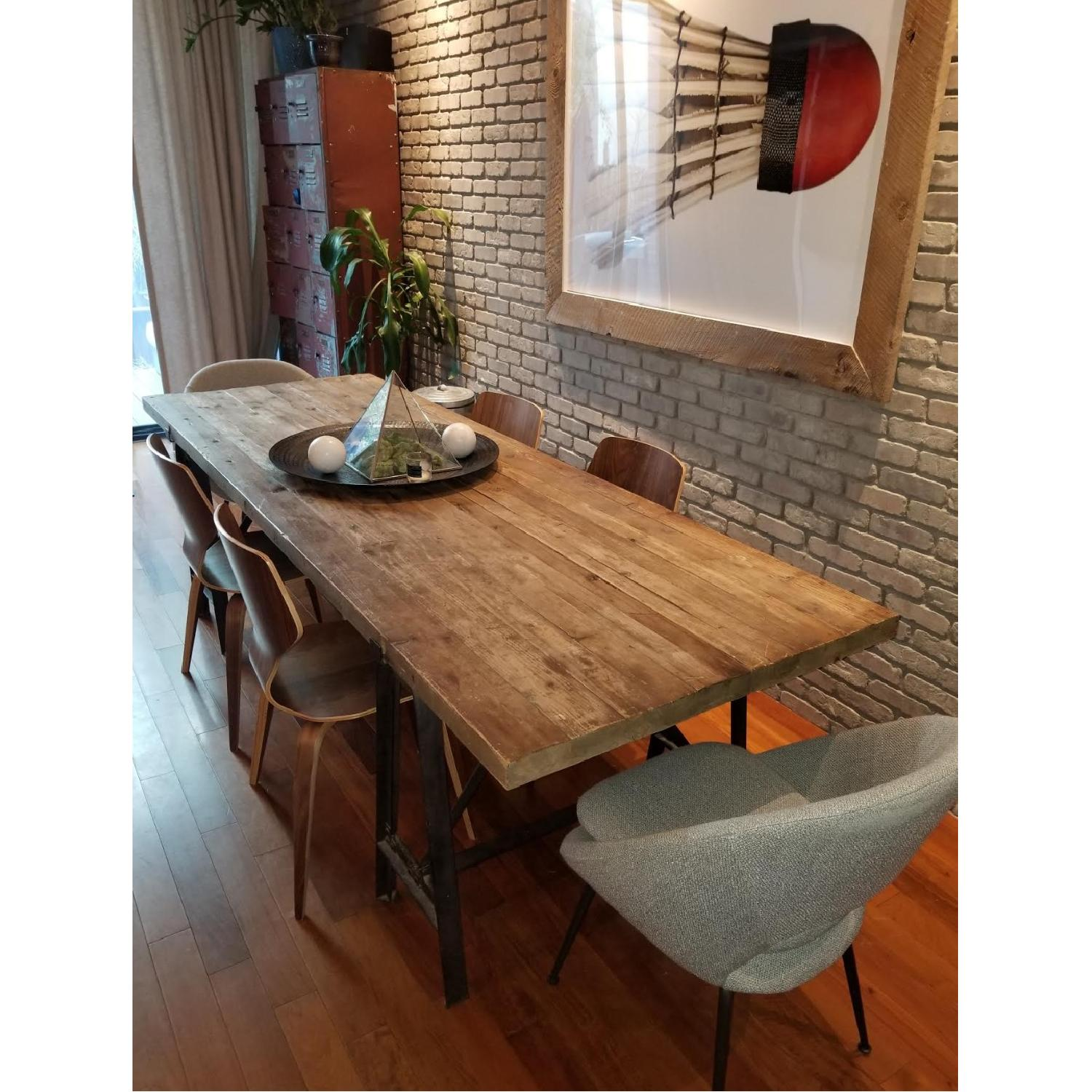Reclaimed Wood Dining Table w/ Wrought Iron Legs-1