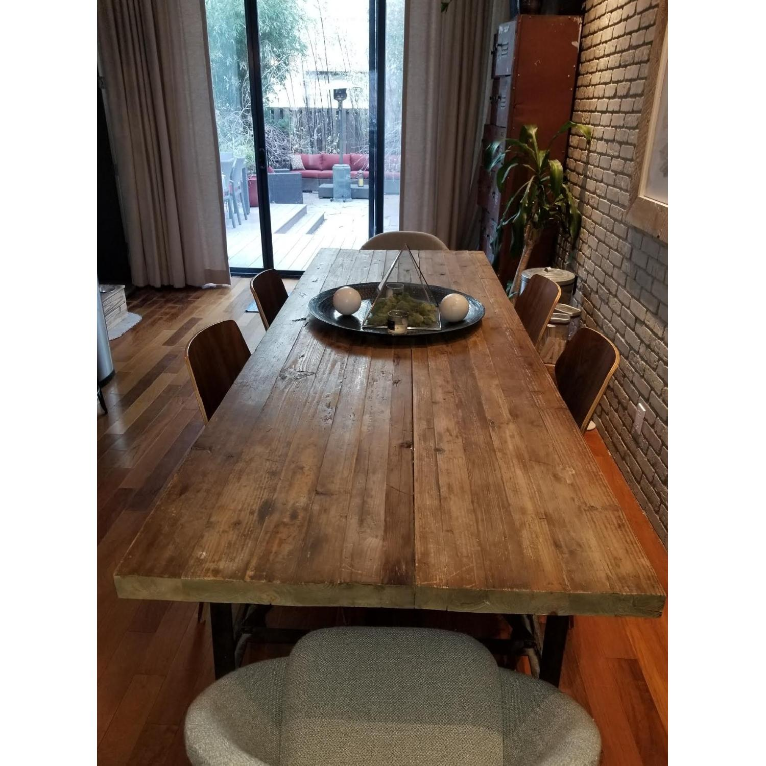 Reclaimed Wood Dining Table w/ Wrought Iron Legs-2