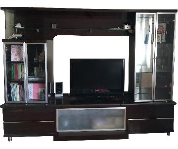 Media Unit w/ Bridge & Storage Shelves