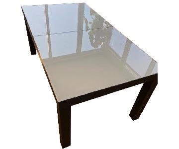 Ligne Roset Ebony Oak/Milk Glass Dining Table