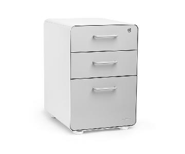 Poppin White & Light Gray Stow 3-Drawer File Cabinet