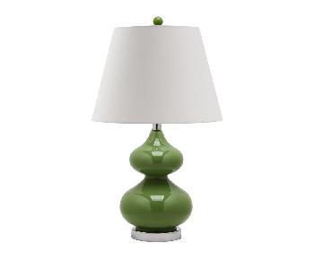 Safavieh Eva Double Gourd Glass Table Lamp in Green