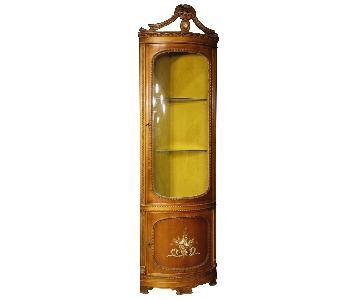 Louis XVI Style Italian Corner Cupboard in Wood