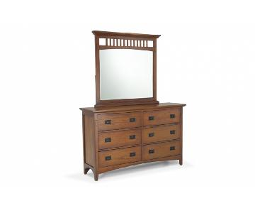 Bob's Dark Maple Wood Mission Oak Dresser w/ Mirror