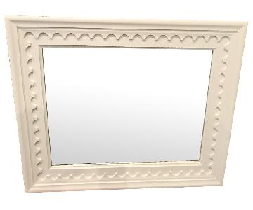 Crate & Barrel White Wood Framed Mirror