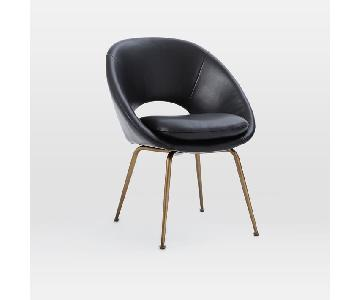 West Elm Black Leather Dining/Accent Chair