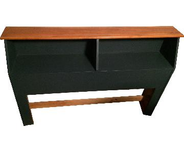 Navy & Wood Grain Full Size Storage Headboard