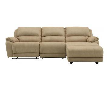 Raymour & Flanigan Microfiber Power Reclining Sectional Sofa