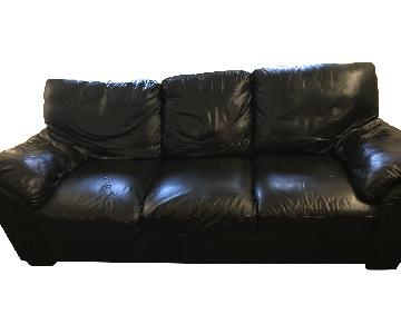 Raymour & Flanigan Black Leather Sofa