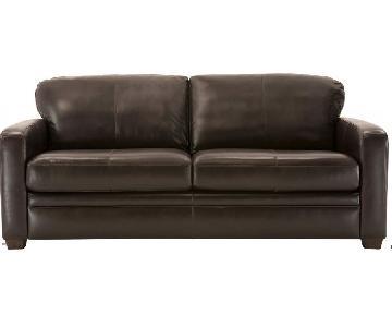 Raymour & Flanigan Trent Leather Full Sleeper Sofa