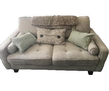 Ashley Light Grey Tufted 2 Seater Sofa