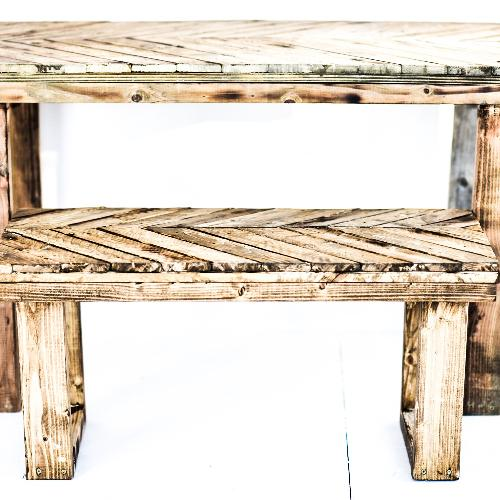 Creative X Soul Handmade Chevron Torched Table w/ Bench