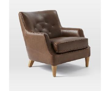 West Elm Livingston Club Chair in Brown Leather