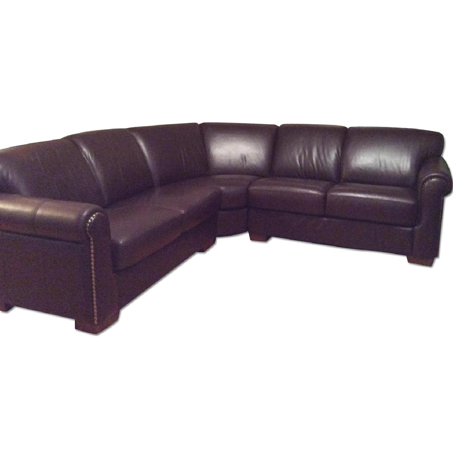 Macy's Brown Leather Nailhead Sectional Sofa