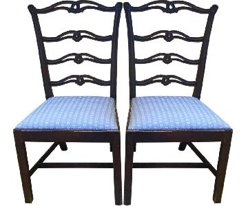 Upholstered Wood Dining Chairs - Pair