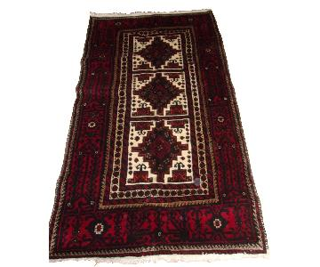 Persian Baluch Oriental rug in Burgundy & Ivory