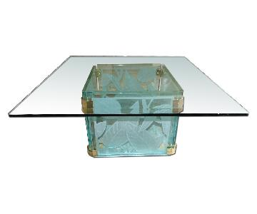 Italian Made Etched Glass Coffee Table