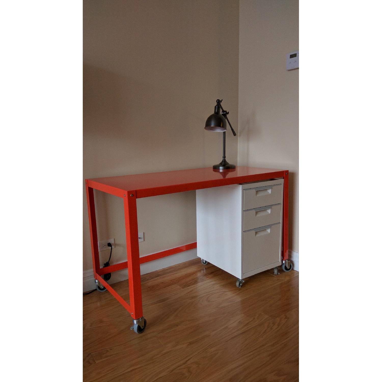CB2 Go-Cart Desk + Cabinet + Table Lamp - image-1