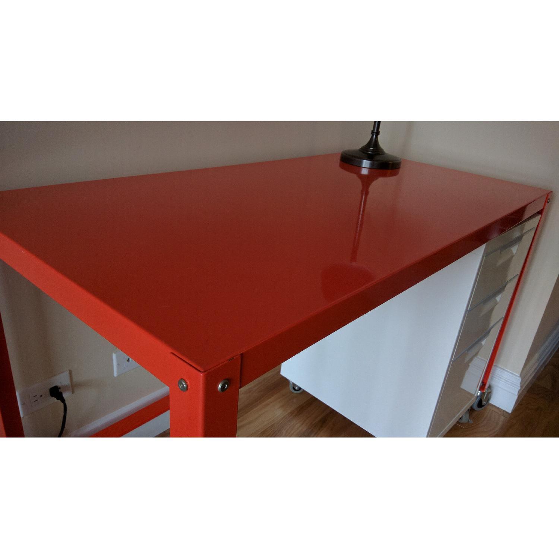 CB2 Go-Cart Desk + Cabinet + Table Lamp - image-3