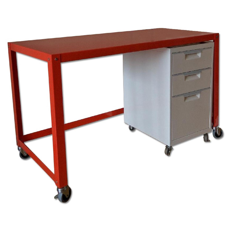 CB2 Go-Cart Desk + Cabinet + Table Lamp - image-0