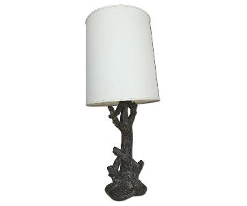 Mid-Century Rustic Tree Trunk Lamp