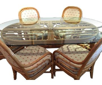 Oval Bamboo Dining Table w/ 6 Chairs + 2 Ottomans