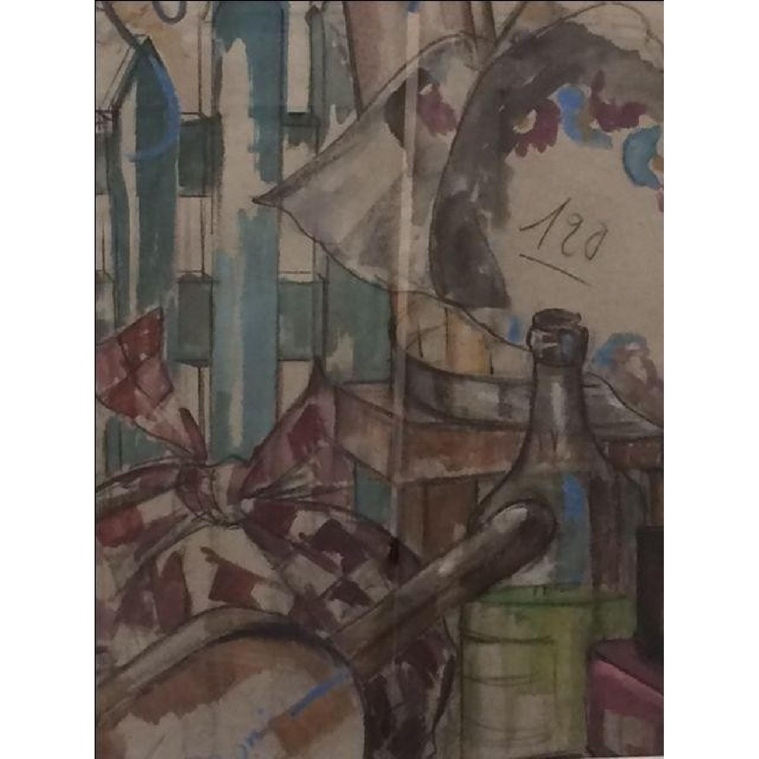 MCM French Signed Watercolor - image-2