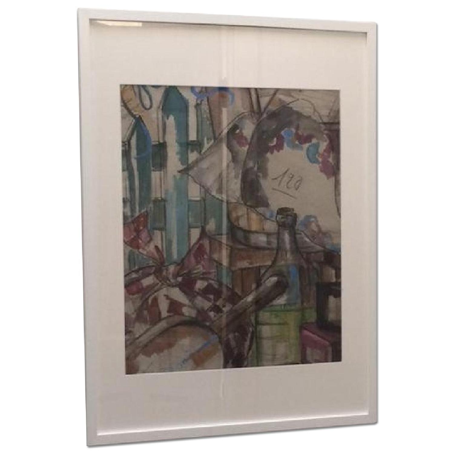 MCM French Signed Watercolor - image-0